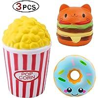 Xiton Squishy Jouets Anti-Stress Les Enfants Adultes crème parfumée Hausse Lente Peluches (Pop-Corn Coupe / Donut / Hamburger Cat)