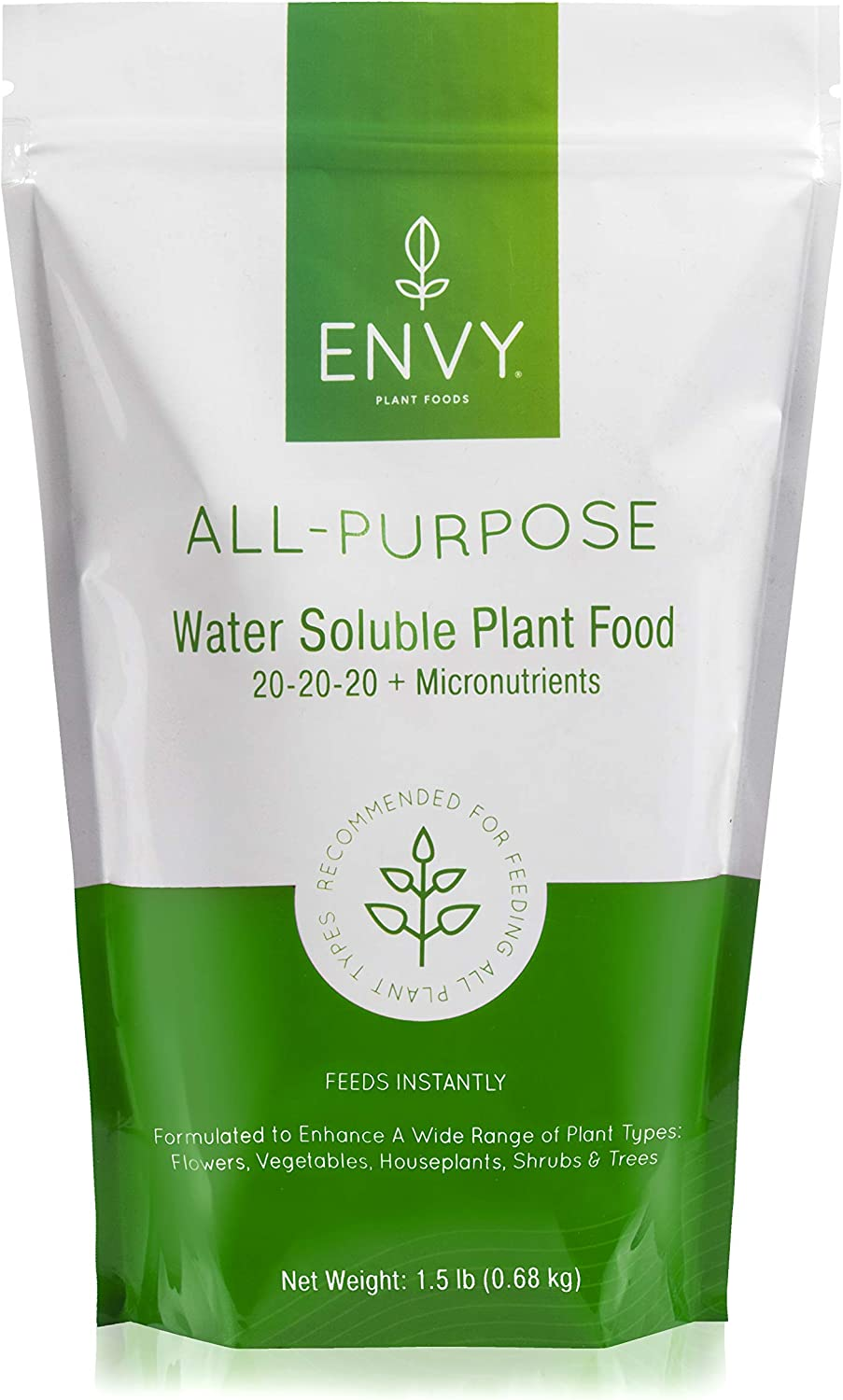 ENVY Professional Grade All-Purpose Plant Food (20-20-20) 100% Water Soluble - in Resealable Pouch W/Measuring Scoop (1.5 lb)