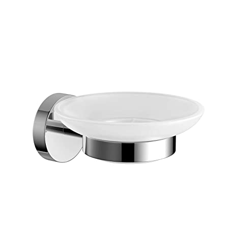 Modern Round Soap Dish Holder Chrome Wall Mounted Bathroom Accessory