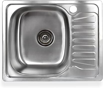 Stabilo Sanitaer Built In Sink Made Of High Quality Stainless Steel Square Sink With Small Draining Surface On The Right Kitchen Sink Drain Strainer With Integrated Drain Stop Amazon De Diy Tools