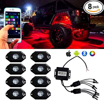 713ff1f8131acd Extreme Off-Road Rock Lights RGB LED Bluetooth Control Cell Phone Timing  Music Mode Flashing