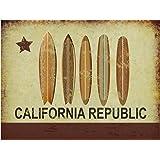 California Republic Surf Metal Sign, Surfboards, California