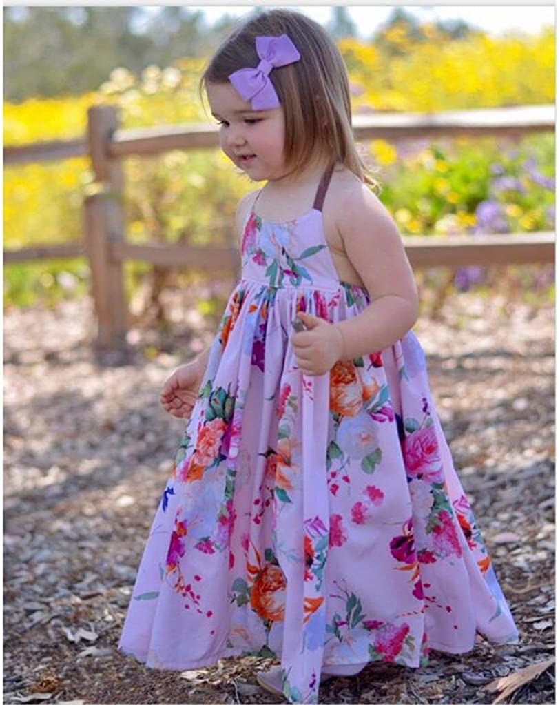 Forestime Toddler Kids Baby Girl Printed Sleeveless Floral Backless Princess Long Dresses Clothes