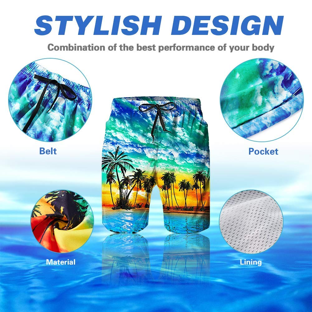 Mode Fashion Casual Mens Swim Trunks Quick Dry Printed Beach Shorts Summer Boardshorts with Mesh Lining