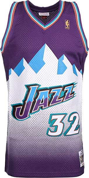 20a1022c251e Mitchell   Ness Karl Malone  32 Utah Jazz 1996-97 Swingman NBA Jersey Purple   Amazon.co.uk  Sports   Outdoors