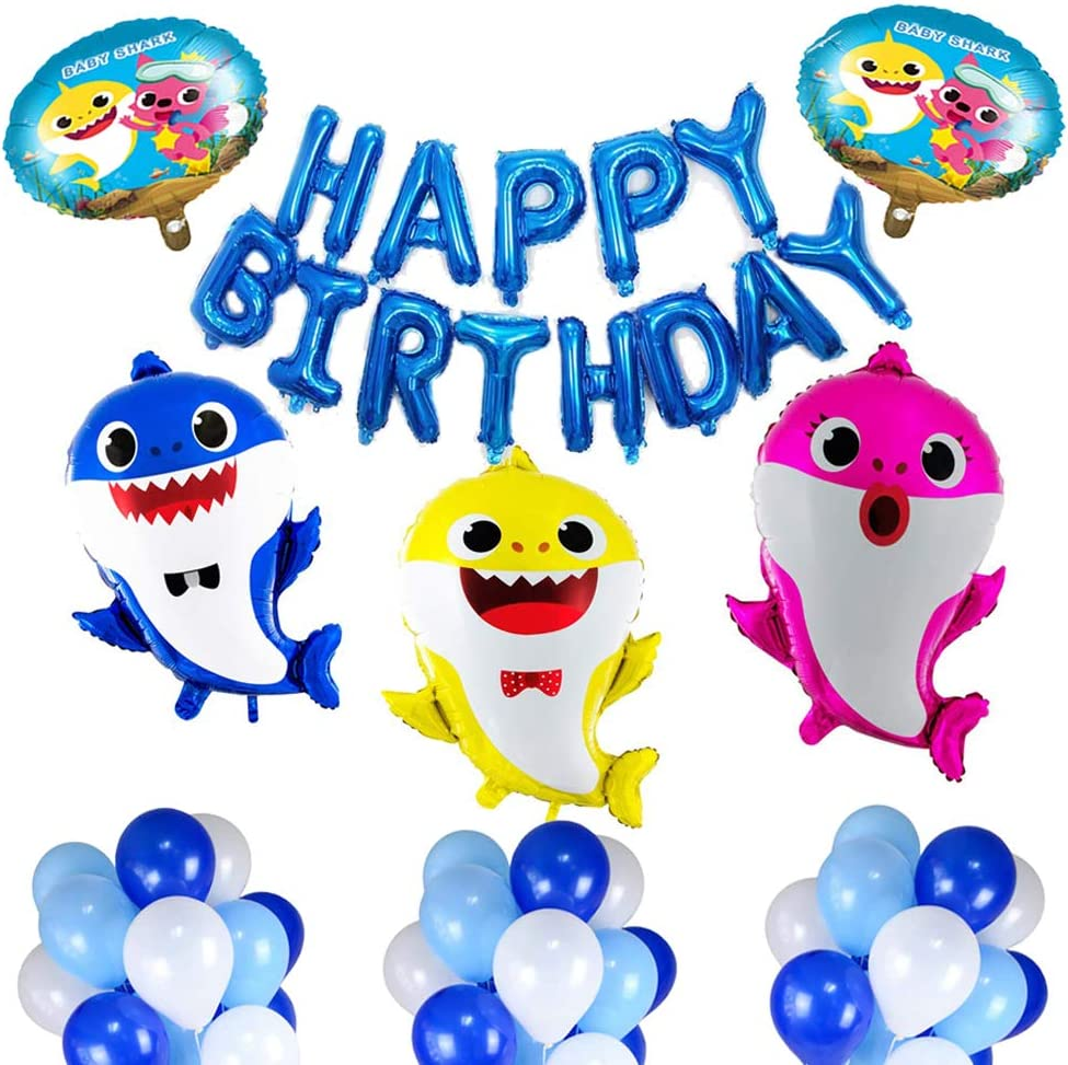 Baby Shark Party Supplies,Hpwai 48 PCS Shark Balloons Birthday Party Decorations Kit for 1st 2nd 3 Year Old Girls Boys