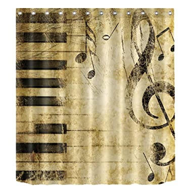 Beautiful Water-resistant Shower Curtain Liner Anti-Bacterial and Mildew Resistant Polyester Bath Bathroom Washroom Restroom Toilet Curtain Decor with 12 Hook (180x180, Vintage Music Notes)
