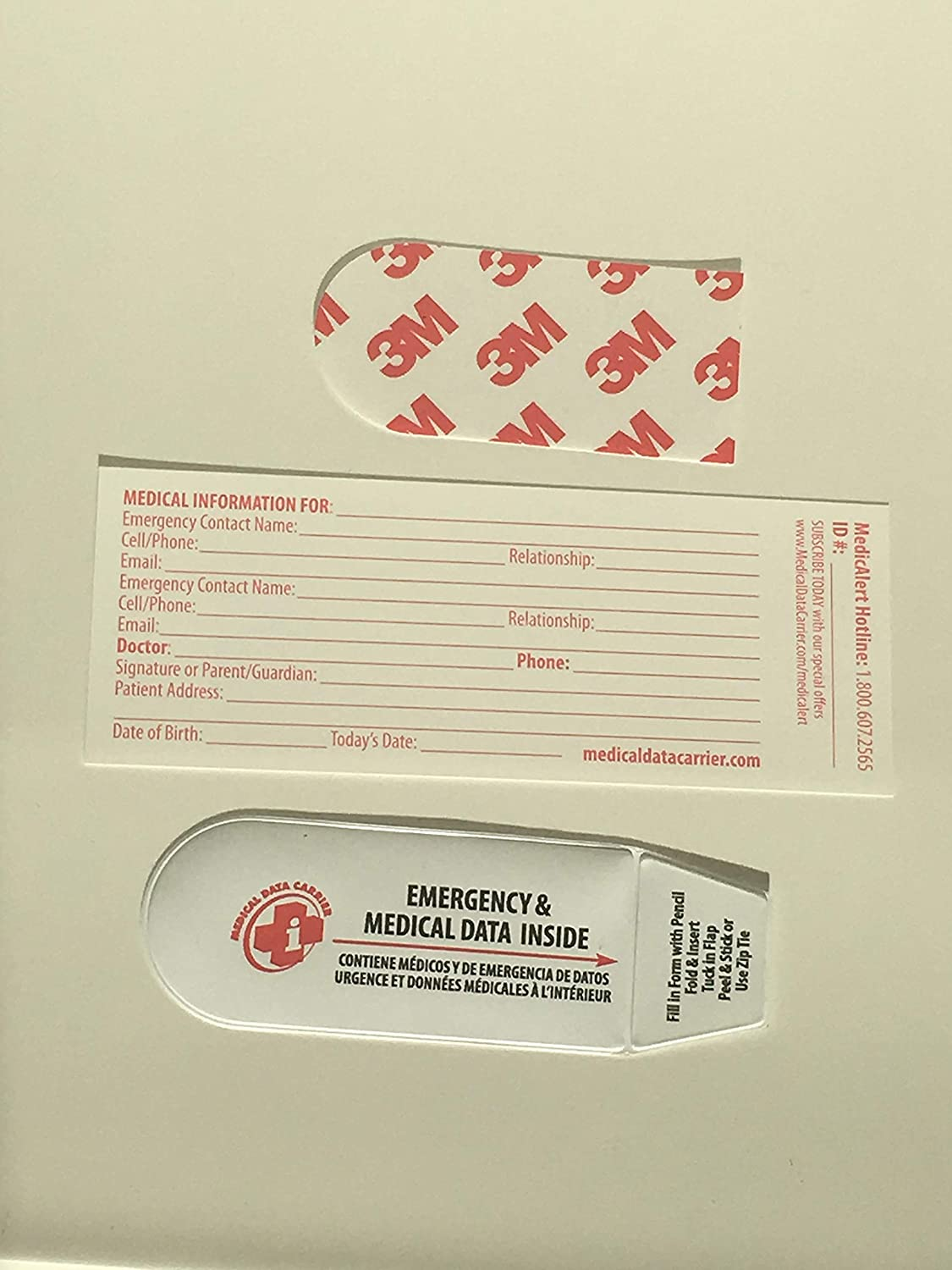 Medical Data Carrier for Lacrosse Helmets OEM Approved Adhesive