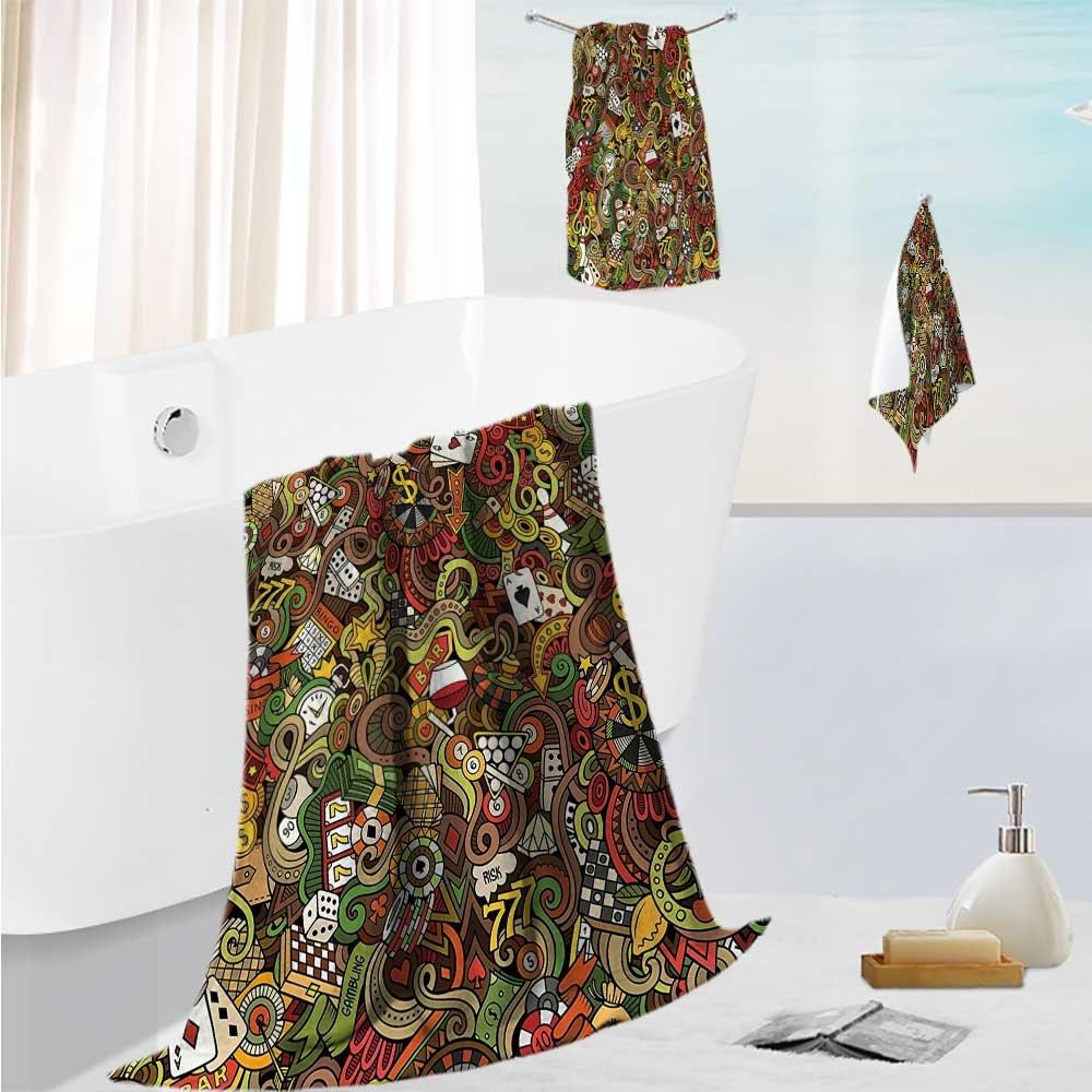 SCOCICI1588 toddler bath towel setDoodles Style Bingo Excitement Checkers King Tambourine Vegas Bathroom Ultra Softness & Absorbency 13.8''x13.8''-11.8''x27.6''-27.6''x55.2'' by SCOCICI1588