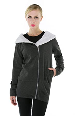 Coxeer® Women's Zip Up Plush Lining Warm Long Sleeve Hooded Coat ...
