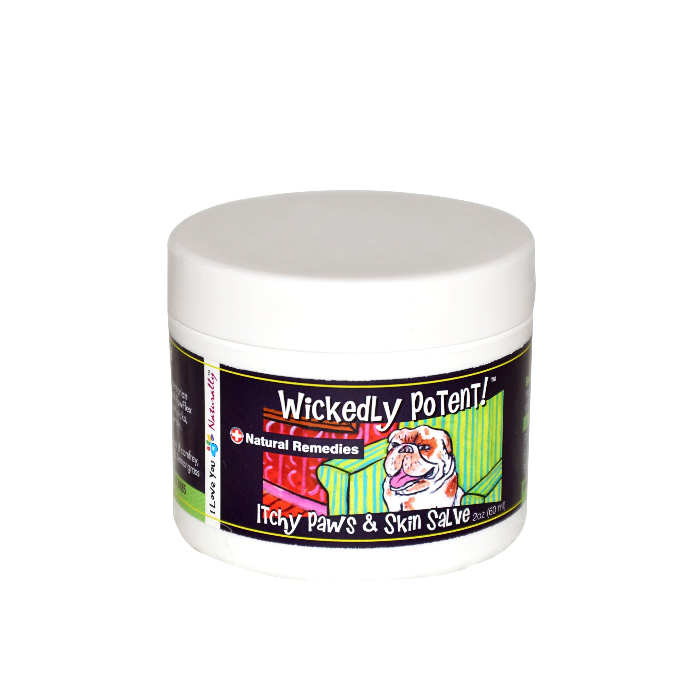 PawFlex Wickedly Potent All Natural Dog and Pet ITCHY PAWS & SKIN Salve First Aid Itch Relief Herbal Balm Holistic Healing Remedy Allergies, Hot Spots, and Fungal Infections - 1 oz (2 oz)