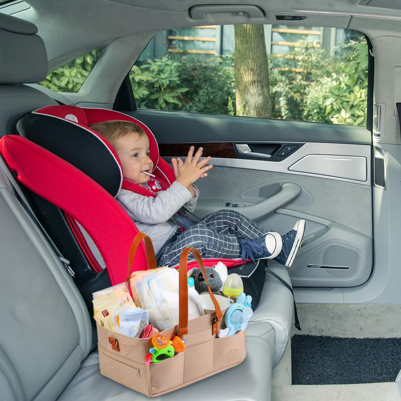 Felly Baby Organizer mit 2 Kinderwagenhaken f/ür Auto Reise Filz Baby Windel Caddy Organizer Korb tragbar Storage Bin gro/ß Tasche mit herausnehmbaren Trennw/änden Kinderwagentasche
