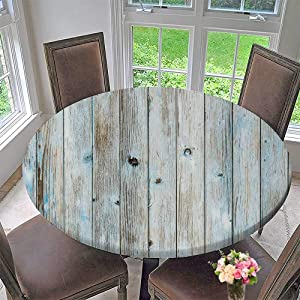 PINAFORE HOME The Round Table Cloth Light Blue Turquoise Colored Wooden Planks wbackground Texture for Birthday Party, Graduation Party 59.5