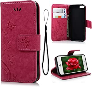 MOLLYCOOCLE iPhone 5s Wallet Case, Butterfly PU Leather Flip Folio Wallet Case with Kickstand Credit Card Holder Lightwight Slim Shockproof Soft TPU Bumper Cover for iPhone SE 5S 5 - Red