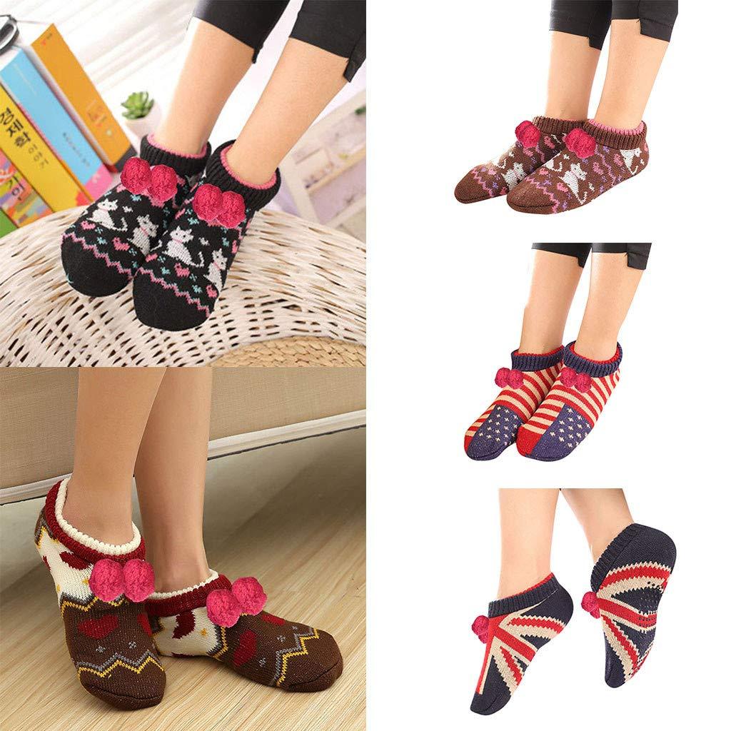 Fashion Socks in Londony /♥‿/♥ 1 Pairs Womens Animal Heads Sherpa Plush Fleece Lined Slipper Socks