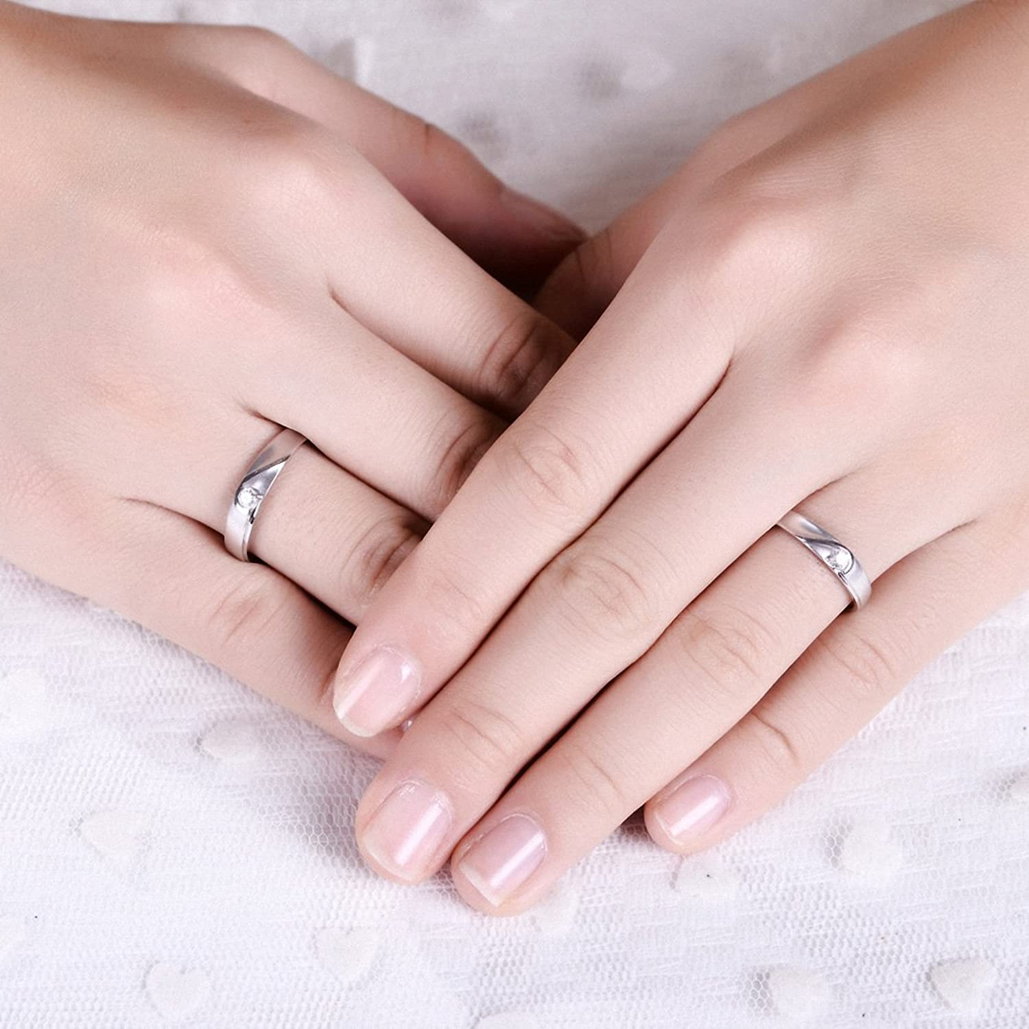 Amazon.com: NEOWOO Sterling Silver Wedding Rings His or Her ...