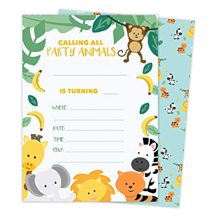 Amazon Zoo 3 Animals Happy Birthday Invitations Invite Cards