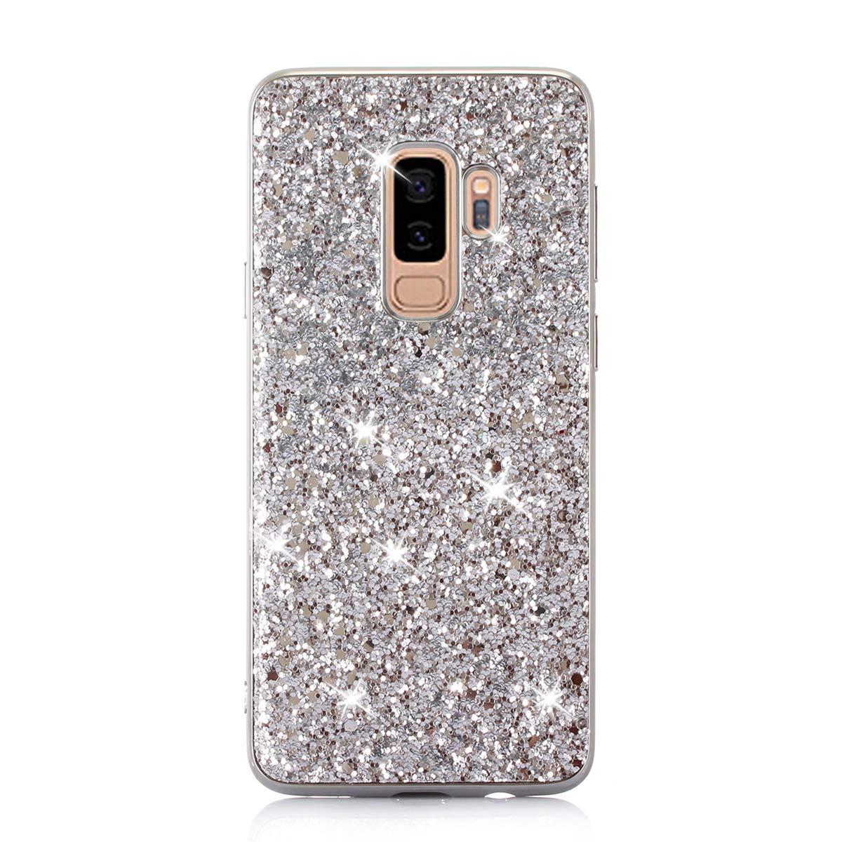 Felfy Coque Samsung Galaxy S9 Plus,Coque Galaxy S9 Plus Glitter Etui,Samsung S9 Plus Glitter Luxe Bling Shiny /Étincelle Paillette TPU Silicone /& PC Bumper Ultra Slim Anti-Choc Couverture,Bleu