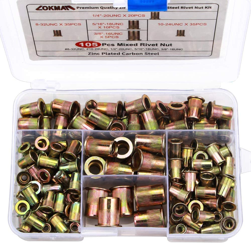 LOKMAN 100 Pieces 1//4-20UNC Carbon Steel Flat Head Rivnut Threaded Insert Nut,Knurled Body Knurled Body Rivet Nut 1//4/'/'-20 1//4-20