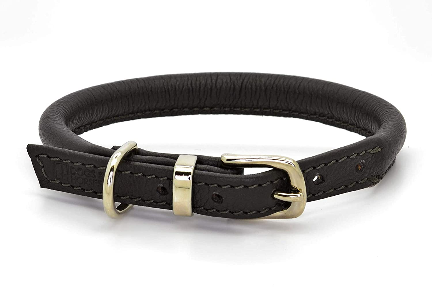 Brown with Silver XL 65cm (neck 5260cm)Dogs & Horses Rolled Leather Dog Collar and Lead Set (XS 37cm (neck 2432cm), Yellow)
