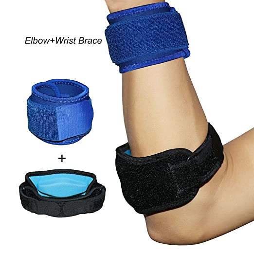 Amazon.com: Tennis and Golfers Elbow Brace with Wrist Strap Support ...