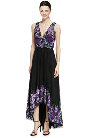 fba837465a83a8 Marchesa Notte Floral Embroidered Tulle Hi-Lo Evening Gown Dress - Black -   Amazon.co.uk  Clothing