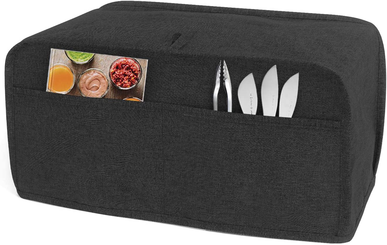 Luxja Toaster Cover for 4 Slice Long Slot Toaster (15.5 x 7.5 x 8 inches), Toaster Cover with 2 Pockets (Fits for Most 4 Slice Long Slot Toasters), Black