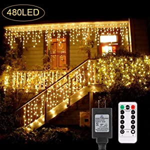 B-right 480 LED Icicle Lights, 32.8ft x 2.6ft Christmas Lights Plug in 29V Curtain Fairy Lights Remote 8 Modes LED String Lights for Bedroom Curtain Wedding Party Indoor Wall Decorations, Warm White