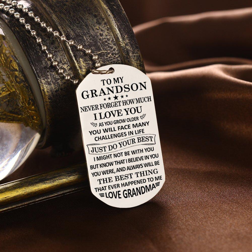 Stashix To My Grandson Never Forget How Much Love You Grandma Grammie Nana Grammy Dog Tags Pendant Necklace Birthday Gift Jewelry Graduation Military Birthday Anniversary Personalized by Stashix (Image #2)