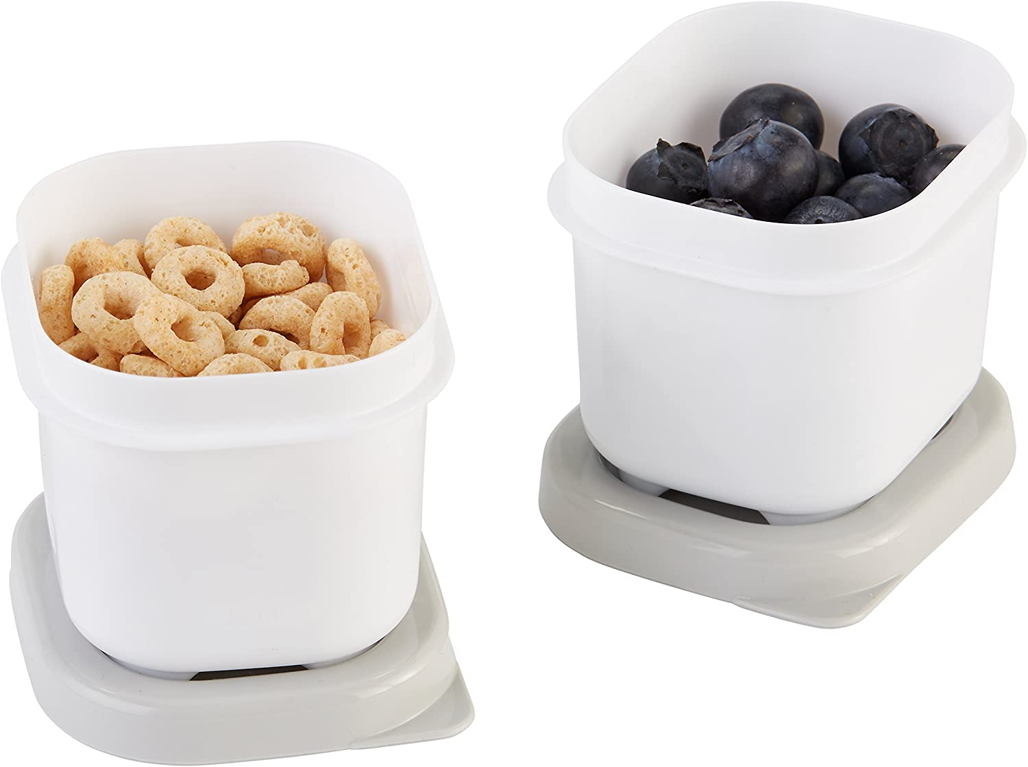 Rubbermaid Fasten + Go Snack Containers, 0.5 Cup, Smoke Gray, Pack of 2
