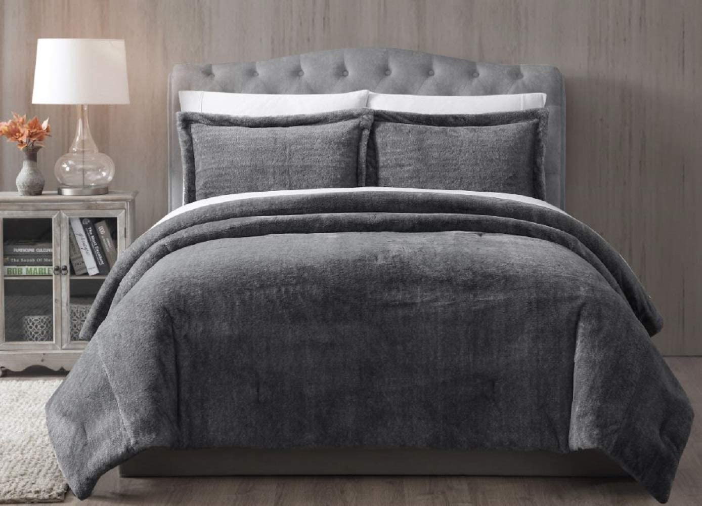 Luxury 3pc Black Faux Fur Comforter AND Decorative Pillow Shams ALL SIZES