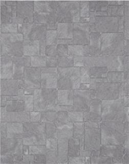 Dollhouse Miniature Flagstone Slate Tile Gray Embossed Card 1:12 Scale Wallpaper