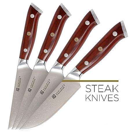 Amazon.com: Juego de 4 cuchillos de acero Damasco de 5.0 in ...
