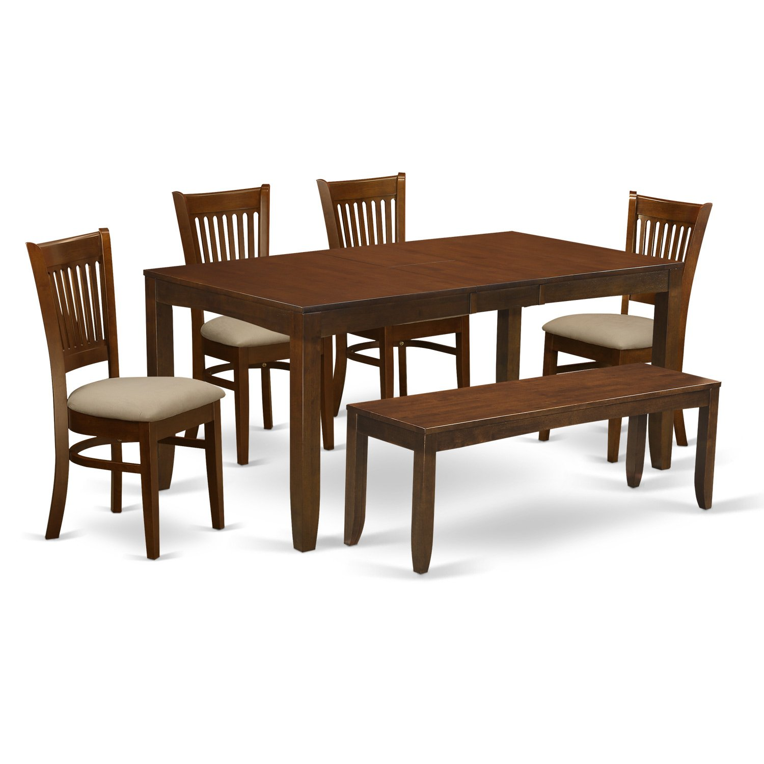 LYVA6-ESP-C 6 Pc set Dining Table with a 12in Leaf and 4 Padded Dinette Chairs Plus Bench