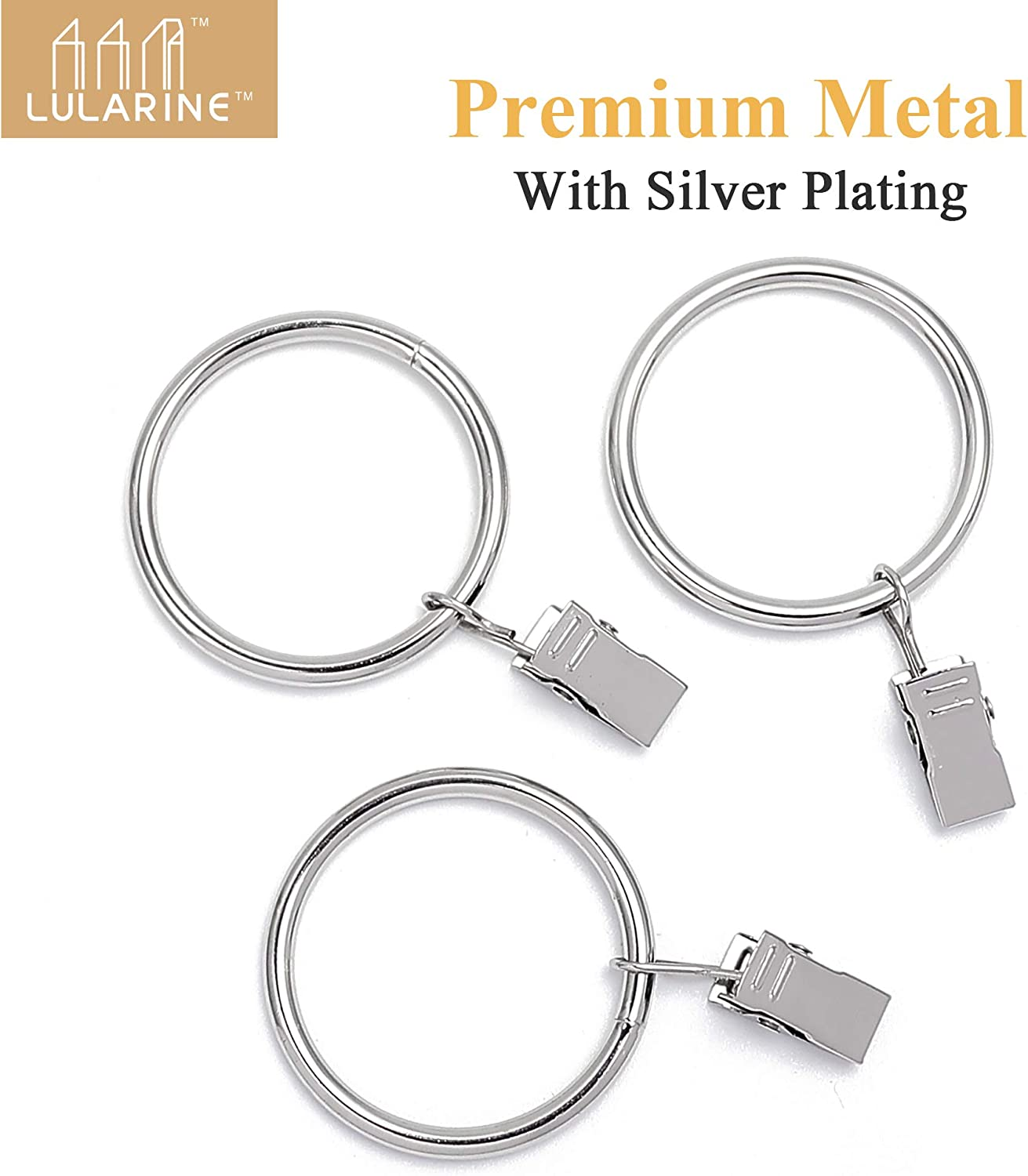 LULARINE 1.5 Inches Curtain Rings with Clips Metal Curtain Eyelet Rings Silver 40PCS