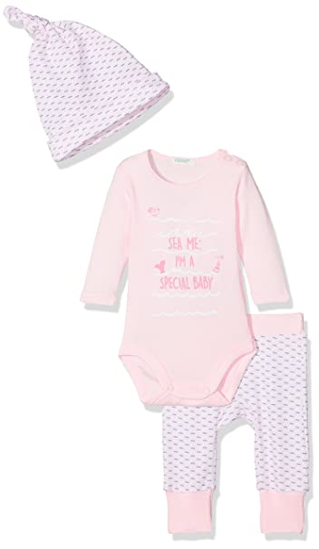 United Colors of Benetton Body+ Trousers + Cap, Conjunto para Bebés, Rosa (Pink