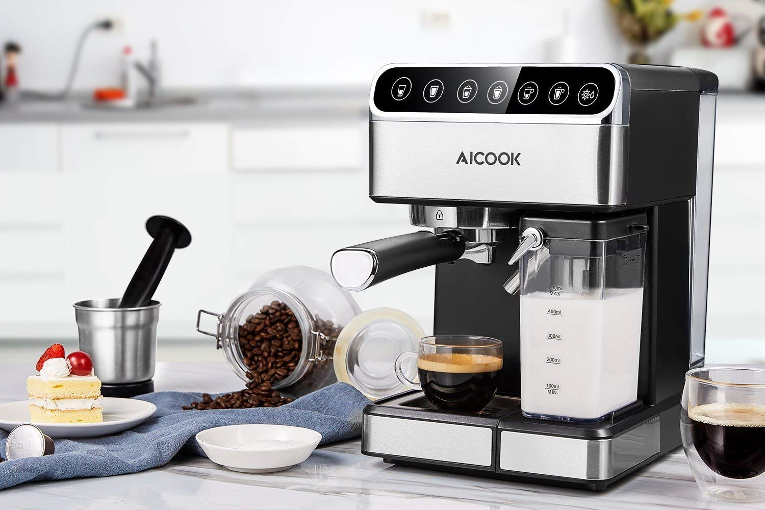 Aicook Espresso Machine, Barista Espresso Coffee Maker with One Touch Digital Screen, 15 Bar Pump and Automatic Milk Frother, Cappuccino Maker, Latte maker by AICOOK (Image #7)