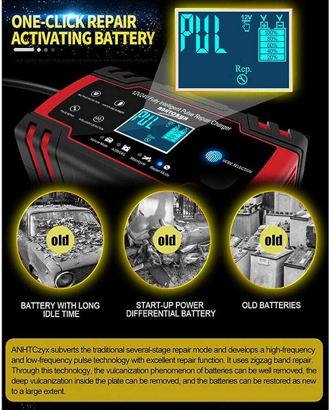 ACAMPTAR Coche Arrancador de Salto de Emergencia 12V//24V Banco de Energ/íA Cargador de Bater/íA con Pantalla LCD Enchufe de la UE