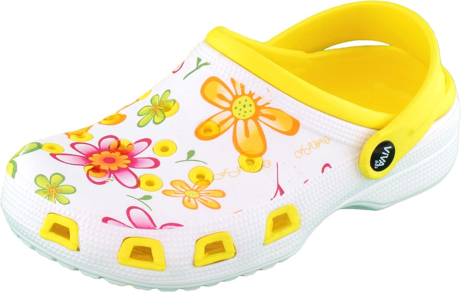 Brandsseller Sabots Femmes Chaussure de Jardin Pantoufle Plage Sandales Clogs Motif de Fleurs