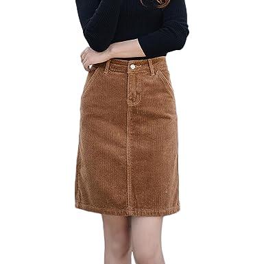 1d1f38326b Sunfan Women s Corduroy Mid Rise A-Line Skirt Plus Size with Pockets ...