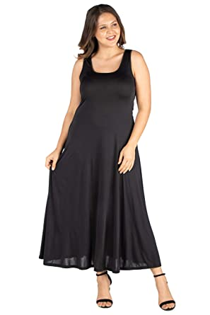6e0518a51179 24seven Comfort Apparel Plus Size Clothing for Women Sleeveless Scoop Neck  Maxi Tank Top Dress -