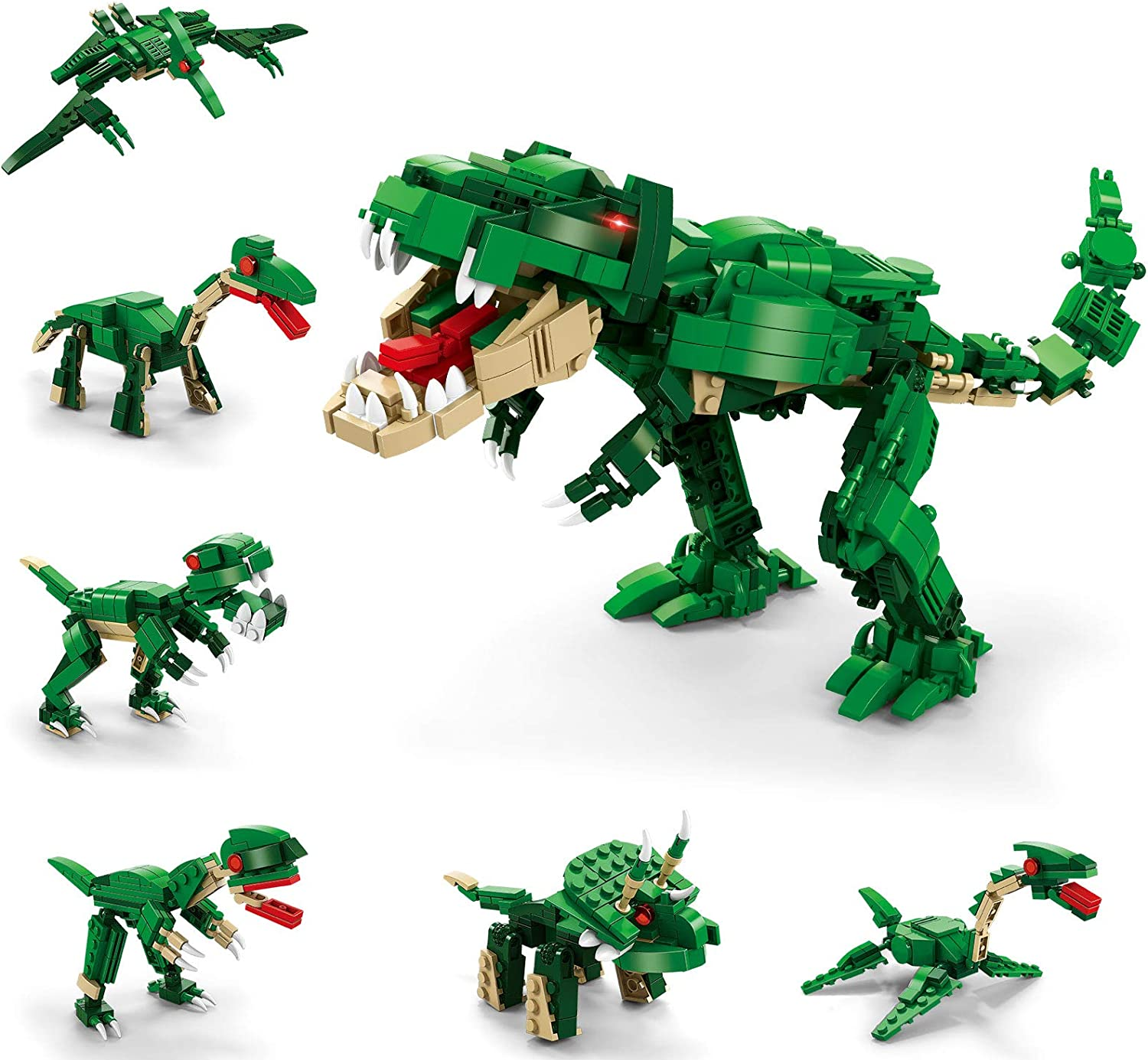 GARUNK 673 Pcs Dinosaurs Building Blocks Set, 6 in 1 Dinosaurs Building Bricks Toys for Kid, Educational Construction Engineering Learning Toy Set for Boys Gift Age 6 7 8 9 10 11 12 Year Old