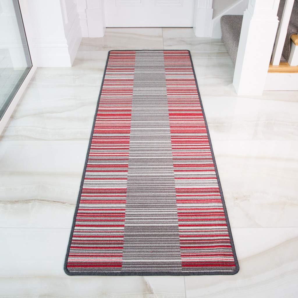 18 x 27 Rouge The Rug House Tapis de Couloir antid/érapant Ray/é Rouge//Gris//cr/ème Lavable en Machine 50cm x 80cm