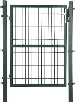 SONGMICS GGD175L GGD175L-Puerta para jardín (Acero galvanizado, Resistente y Duradera, con Cerradura y Llave, tamaño de la Puerta: 125 x 106 cm), Color Verde: Amazon.es: Jardín
