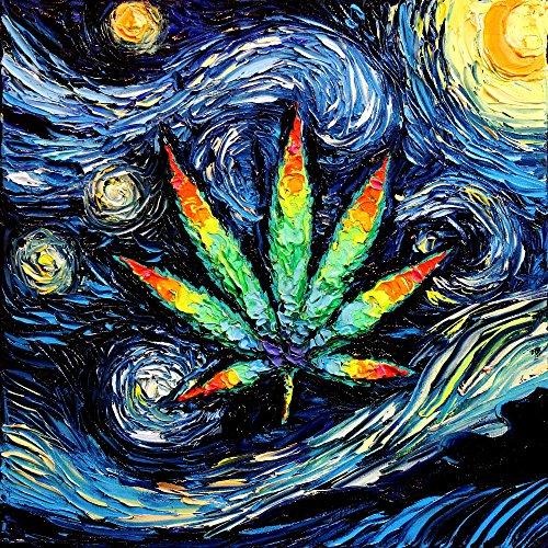 Marijuana Leaf Art - Psychedelic Pot Leaf - Starry Night print van Gogh Probably Lit Up by