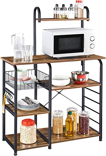 YAHEETECH 35.5 inch Industrial Kitchen Island Storage Cart Rustic Utility Storage Shelf Unit