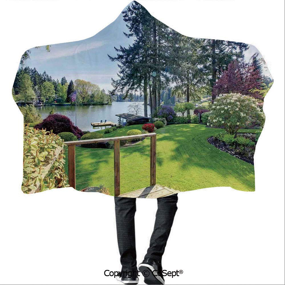 Polyester Hooded Blankets,Sunny Spring Season Day Pier View in Countryside Rural Cottage Nature Image,Unisex All Ages One Size Fits All(59.05x78.74 inch),Multi