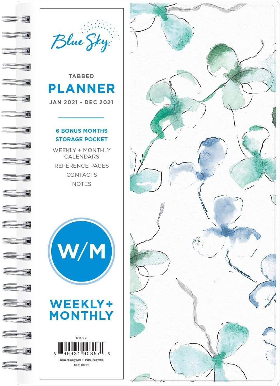 """5/"""" x Twin-Wire Binding Blue Sky 2021 Weekly /& Monthly Planner Flexible Cover"""
