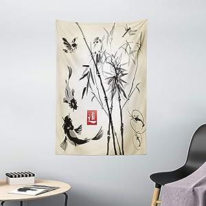 "Ambesonne Japanese Tapestry, Japanese Traditional Garden Design Wildlife Forest Meditation Origami, Wall Hanging for Bedroom Living Room Dorm Decor, 40"" X 60"", White Black"