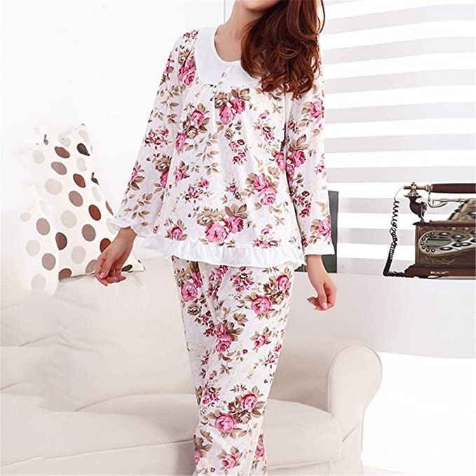 Chiced Long Sleeved Ladies Pajamas Set Pyjamas for Women Pijama Mujer Floral Print Sleepwear Homewear Nightgown